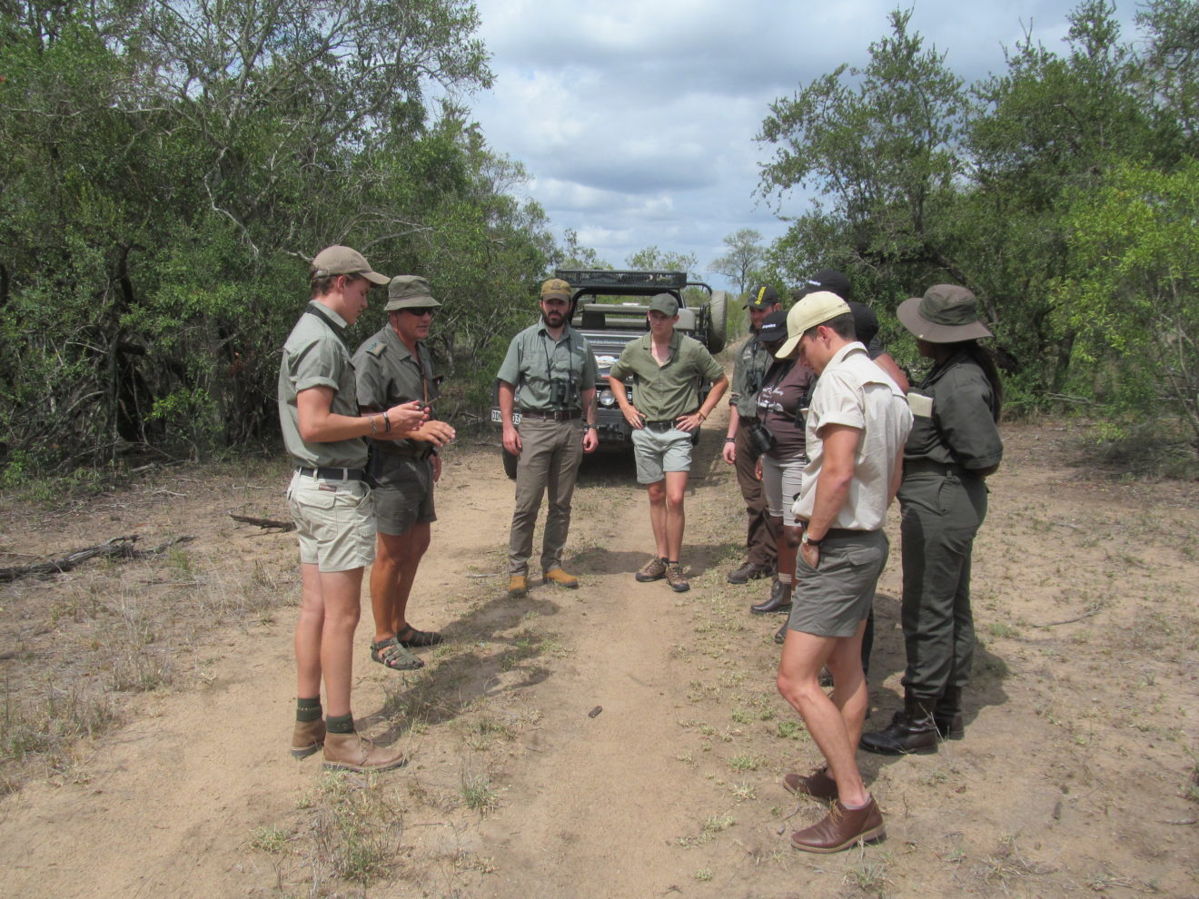 Interpreting the signs of the veld is all part of being a competent guide. Here senior trainer, Pieter Nel discusses tracks in the road with the new guiding students. Despite it being the height of the rainy season, the desperately dry condition of the veld is obvious.