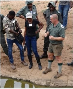 Cornell explaining the importance of waterhole management.