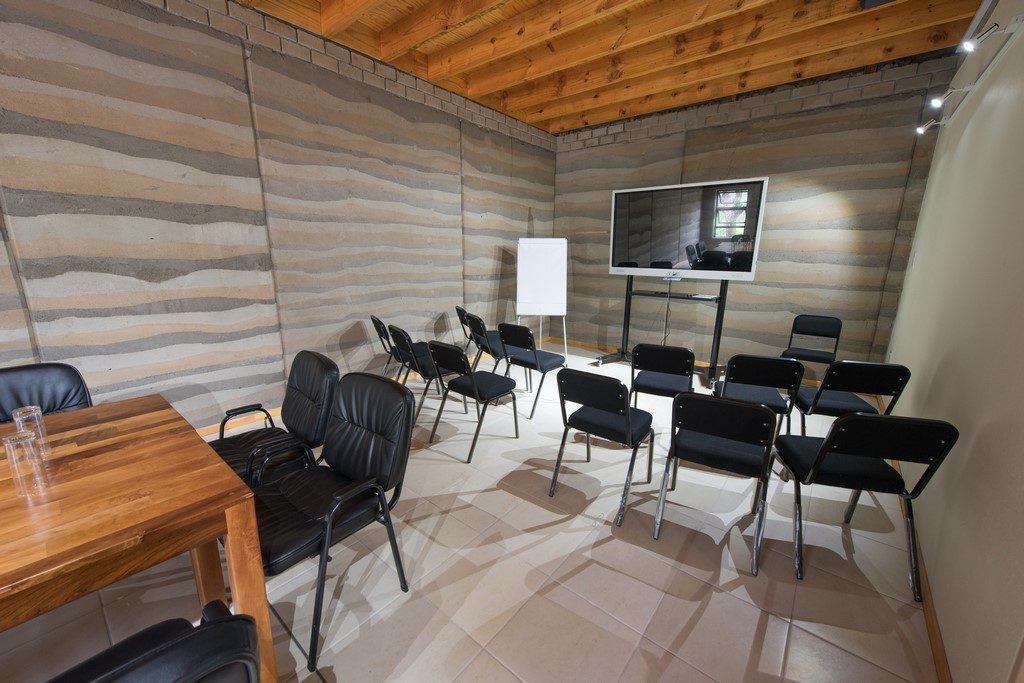 One of the classrooms in the Applied Learning Department building, which was built as part of the Phase II infrastructure development using the rammed earth building technique.